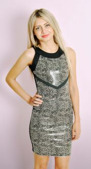 Black and White Speckle PU Front Printed Dress